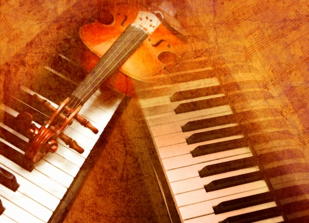Violin on the piano on a grunge background photo