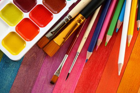 painter palette: Items for drawing Stock Photo