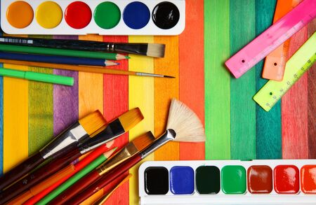 art and craft equipment: Items for drawing Stock Photo