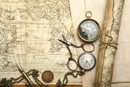 Old map with compass and retro items Stock Photo