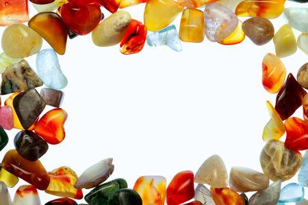 piedras preciosas: colecci�n de hermosas piedras preciosas contra el fondo blanco Foto de archivo