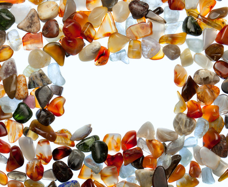 semiprecious: Gemstones on a white. Abstract background with natural semi-precious stones.
