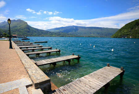 Beautiful view of the Annecy Lake in French Alps. Annecy. Haute Savoie. French Alps. France. Stock Photo
