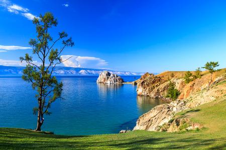 baikal: Lake Baikal. Olkhon island. Cape Burkhan. Stock Photo
