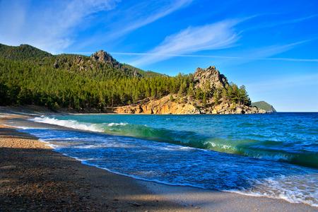 Big wave on the shore of Lake Baikal