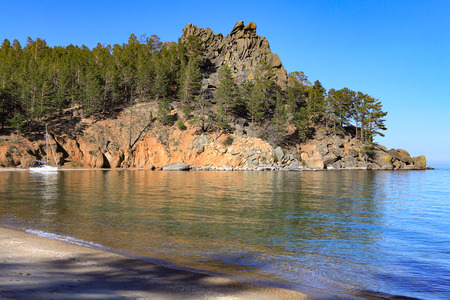 coastline: Coastline of a lake with clear water Stock Photo