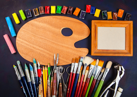 art materials: Professional art materials on vintage background