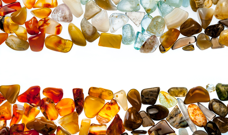 gems: Semiprecious stones on white background