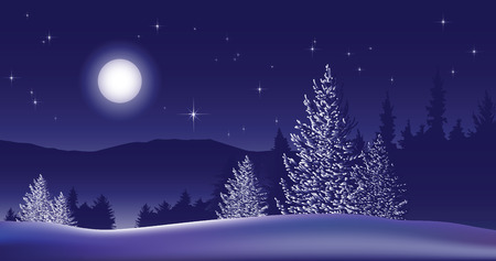 Christmas. Night winter landscape. Trees against a blue background of snow and moon.