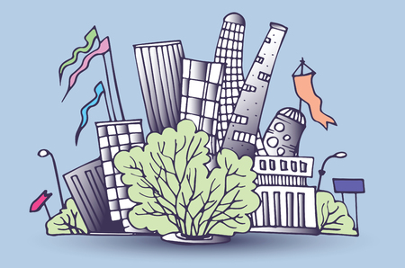 illustration of architectural buildings in panoramic view Illustration