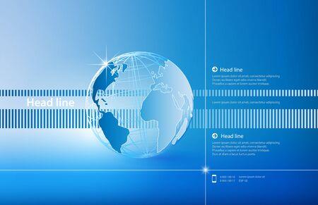 Presentation cover poster blue globe vector illustration