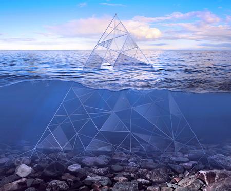 progressive art: Glass pyramid at the bottom of the sea Stock Photo