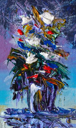 vibrant paintbrush: Oil painting a bouquet of flowers . Impressionist style. Stock Photo
