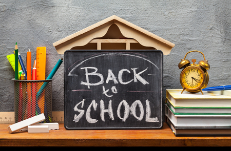 School books on desk, education concept.Text Sign Concept Back to School . Stock Photo