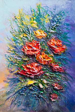 Oil painting a bouquet of flowers . Impressionist style. Stock Photo