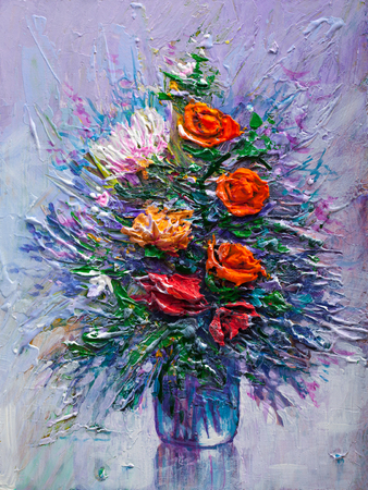 flower fields: Oil painting a bouquet of flowers . Impressionist style. Stock Photo