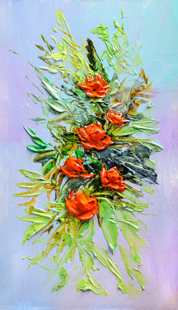 creative beauty: Oil painting a bouquet of flowers . Impressionist style. Stock Photo