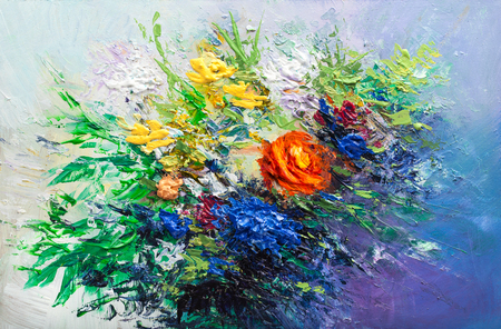 abstract paintings: Oil painting a bouquet of flowers . Impressionist style. Stock Photo