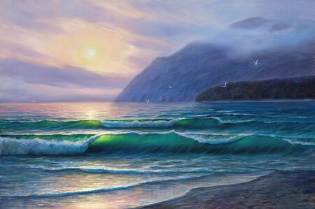 illustration and painting: Morning on sea, wave, illustration, painting  paints on a canvas. Stock Photo