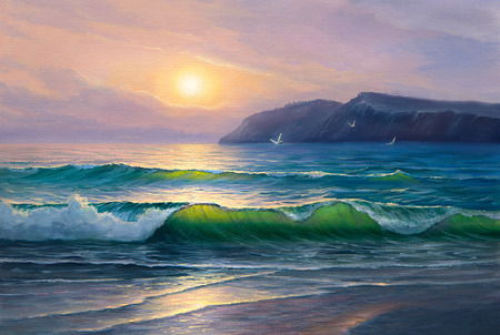 picturesque: Morning on sea, wave, illustration, painting  paints on a canvas. Stock Photo