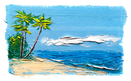 sky sun: Palm trees on the beach with a sandy beach. Painting oil paints.