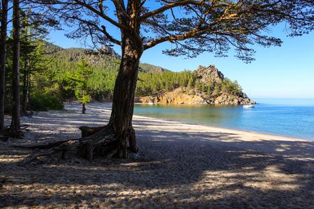 Sandy beach on the shore of Lake Baikal