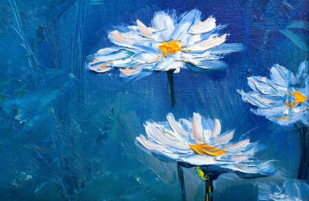 Oil Painting daisies flowers  in the garden Stock Photo - 79663320