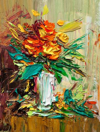 Oil painting a bouquet of flowers . Impressionist style. Zdjęcie Seryjne