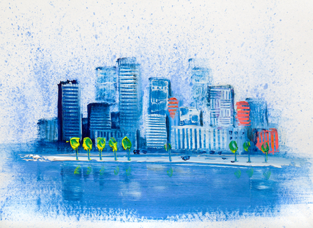 Artistic painting of skyscrapers.Abstract style.Cityscape oil paints.