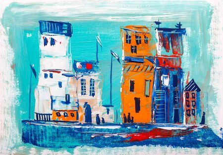 Painting of cityscape.Abstract style.