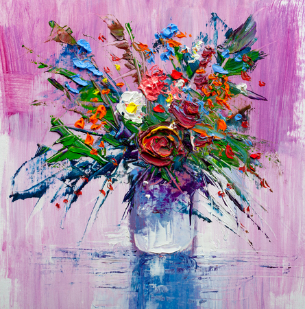 Oil painting a bouquet of flowers . Impressionist style. Stockfoto