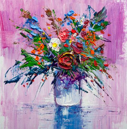 Oil painting a bouquet of flowers . Impressionist style. Foto de archivo