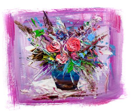 Lgemälde einen Blumenstrauß. Impressioniststil. Auf weißem Hintergrund. Standard-Bild - 94249442