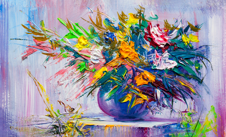 Oil painting a bouquet of flowers . Impressionist style. Archivio Fotografico