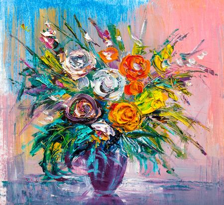 Peinture à l'huile d'un bouquet de roses. Style impressionniste. Banque d'images