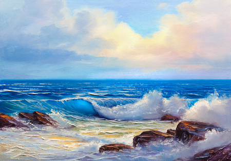 Morning on sea, wave, illustration, painting  paints on a canvas. Stock Photo