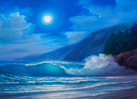 Night storm at sea, wave, illustration, painting  paints on a canvas.