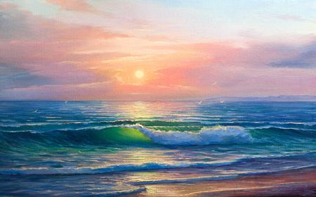 Morgen auf Meer, Welle, Illustration, Ölgemälde auf einer Leinwand.