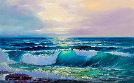 Morning on sea, wave, illustration, oil painting on a canvas. Standard-Bild - 96006452