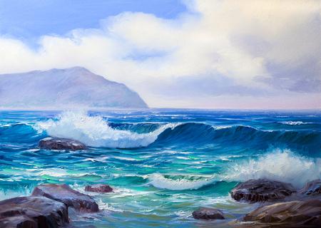 painting seascape, wave, illustration,picture acrylic paints on a canvas.