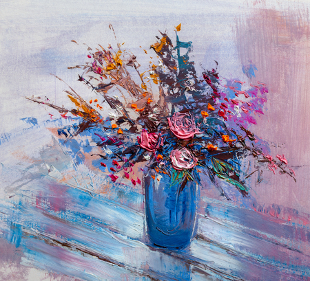 Oil painting a bouquet of roses Stock Photo