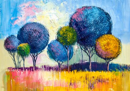 Olieverf landschap, kleurrijke bomen. Handgeschilderd impressionistisch, buitenlandschap. Stockfoto