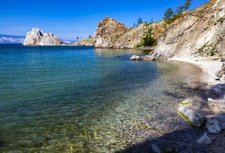 Cape Burhan and Shaman Rock on Olkhon Island at Baikal Lake, Russia. Banco de Imagens