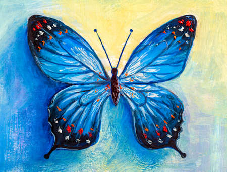 Oil painting of blue butterfly 免版税图像