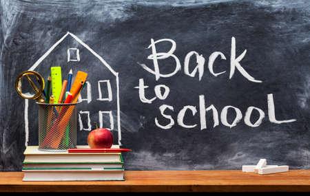 School books on desk, education concept.Text Sign Concept Back to School. Banque d'images