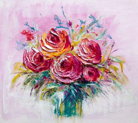Oil painting a bouquet of roses. Impressionist style. Foto de archivo