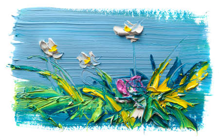 Oil painting a bouquet of flowers. Impressionist style.On a white background. Banque d'images