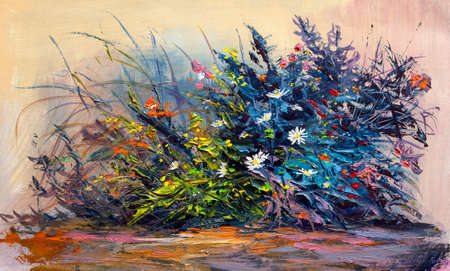 Oil painting flowers, cornflower, daisy in fields. Impressionist style.