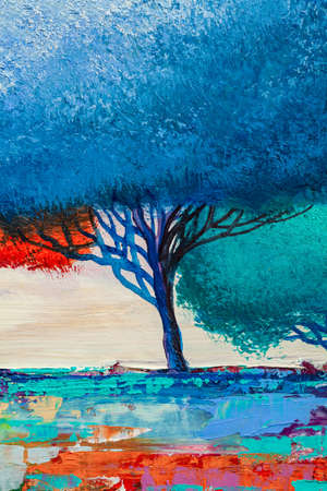 Oil painting landscape, colorful abstract tree. Hand Painted Impressionist.
