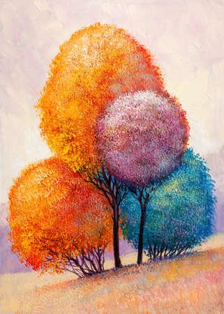 Oil painting landscape - colorful autumn forest. Hand Painted Impressionist. Banque d'images